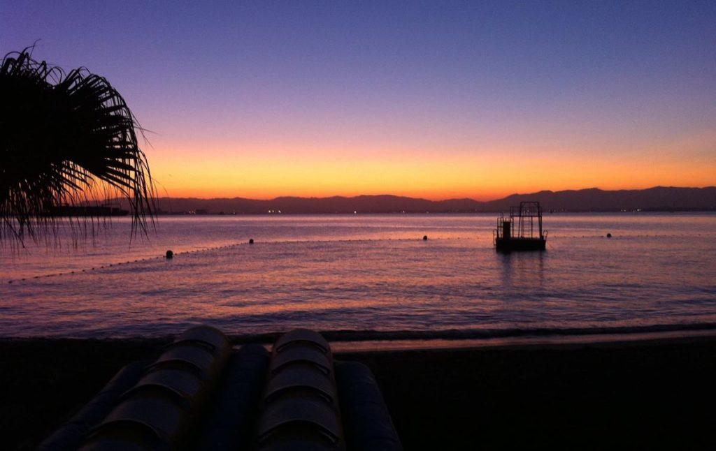 能古島キャンプ村海水浴場 夕陽