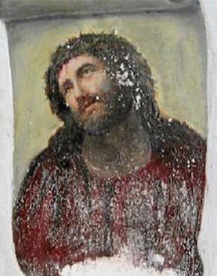 ボルハの教会のフレスコ画「この人を見よ」修復前