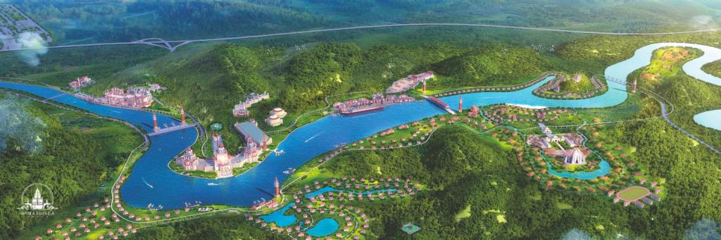 中国のタイタニックのテーマパークロマンディーシーの完成予定マップ