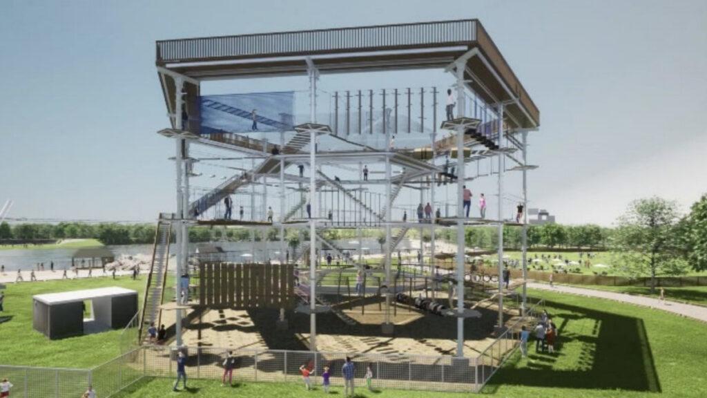 海の中道グランピング新施設「アスレチックタワー」