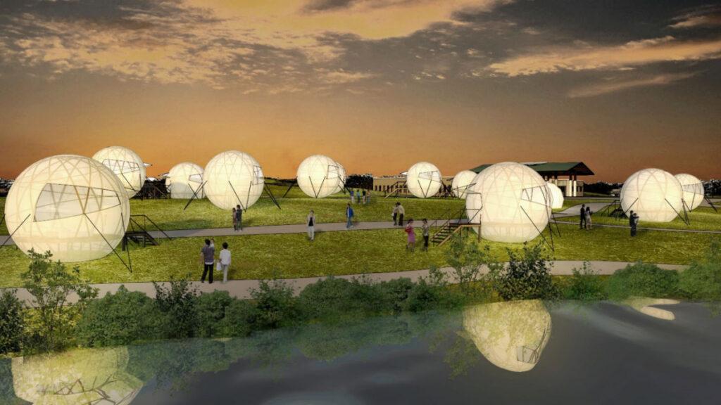 海の中道グランピング新施設「球型テント」
