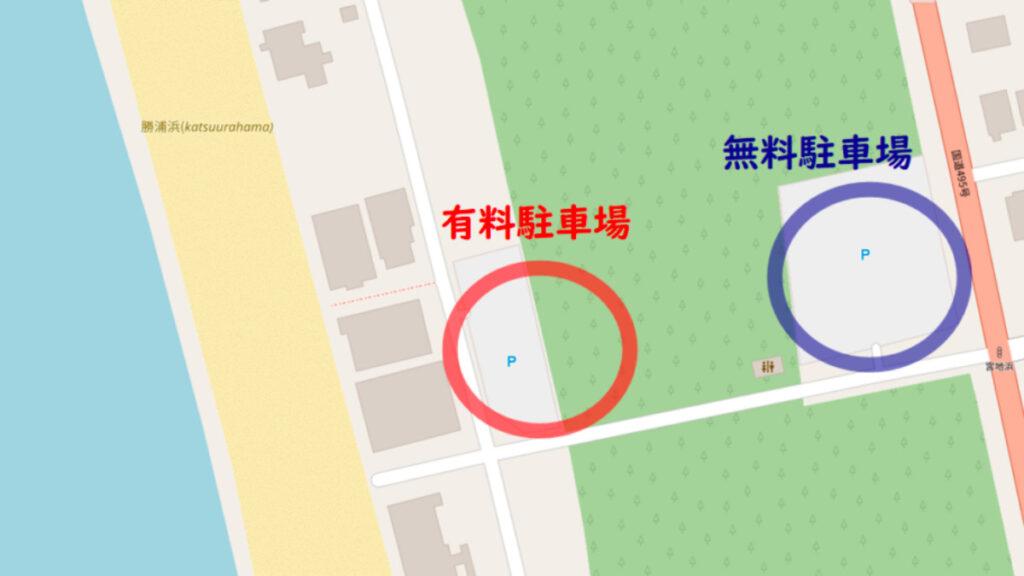 宮地浜海水浴場の無料駐車場マップ